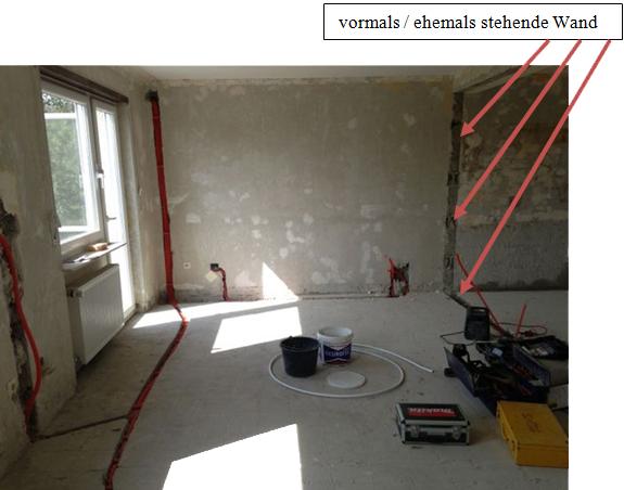 Wohn-Küchenbereich entfernte Wand
