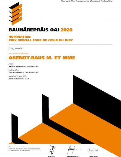 MyCon Diplôme du Bauhärepräis OAI 2020